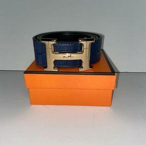 Navy Blue Hermes Belt with Gold Buckle